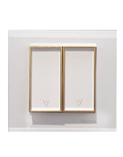 کلید و پریز ویرا الکتریک مدل امگا سفید طلایی سفید ( تمام شیشه )