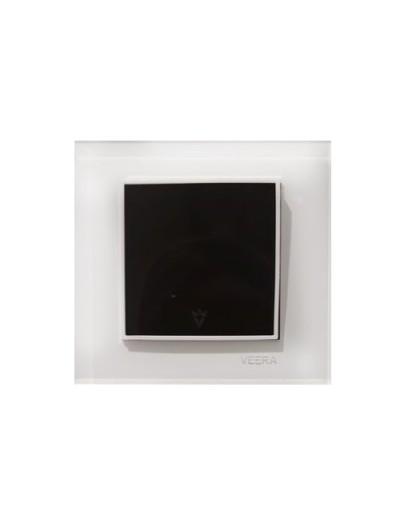 کلید و پریز ویرا الکتریک مدل امگا سفید سفید مشکی ( تمام شیشه )