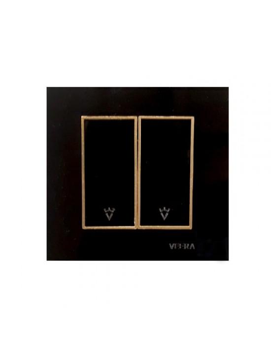 کلید و پریز ویرا الکتریک مدل امگا مشکی طلایی مشکی ( تمام شیشه )