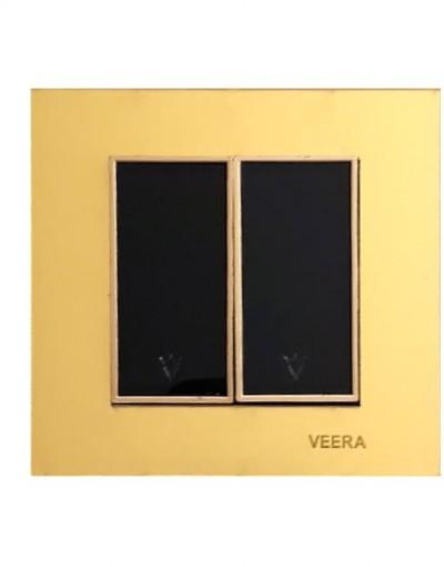 کلید و پریز ویرا الکتریک مدل امگا طلایی طلایی مشکی ( تمام شیشه )
