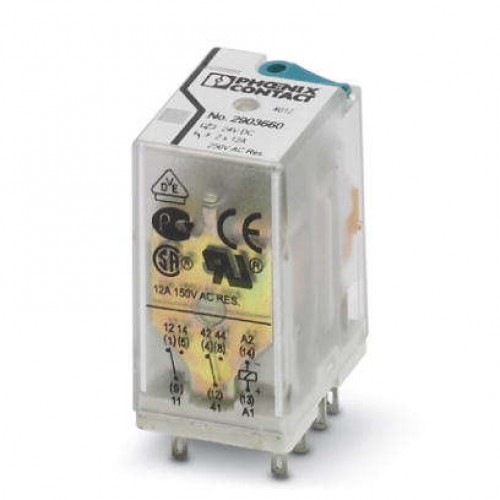 رله 8 پایه 12 آمپر دو کنتاکت ( 2PDT) 110 VDC - فونیکس کنتاکت