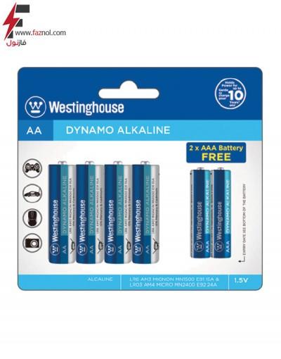 باتری قلمی و نیم قلمی پلاس آلکالاین وستینگ هاوس 4+2