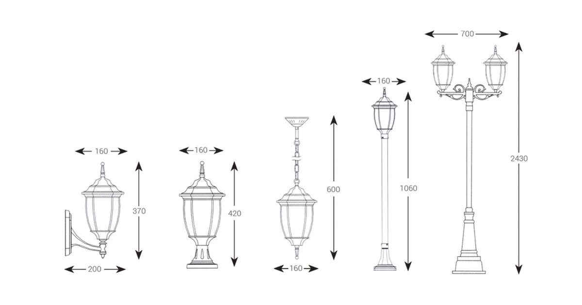 ابعاد انواع مدل های چراغ حیاطی 6021