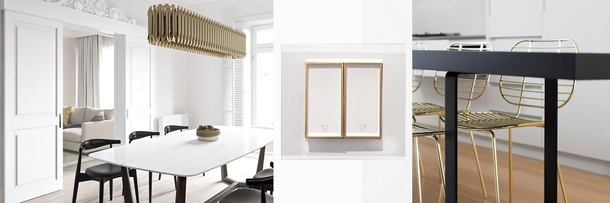 کلید و پریز ویرا امگا در ترکیب طلایی و سفید