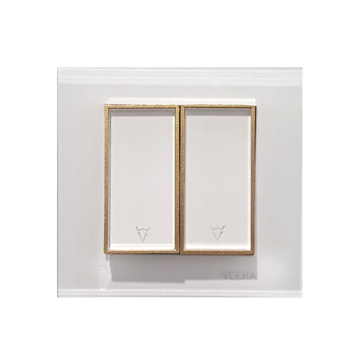 کلید 2 پل سفید طلایی سفید  امگا ویرا الکتریک