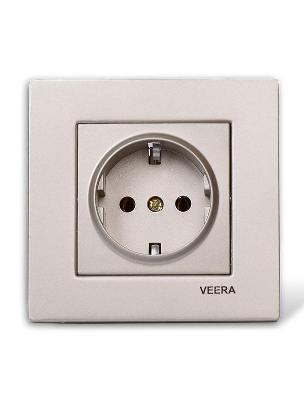 پریز برق ارت دار بژ ساده ویرا الکتریک