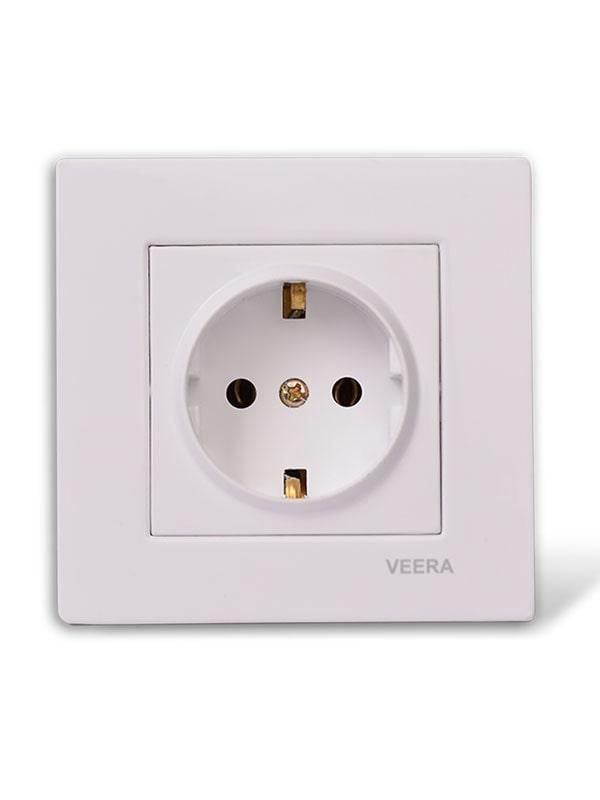 پریز برق ارت دار سفید ساده ویرا الکتریک